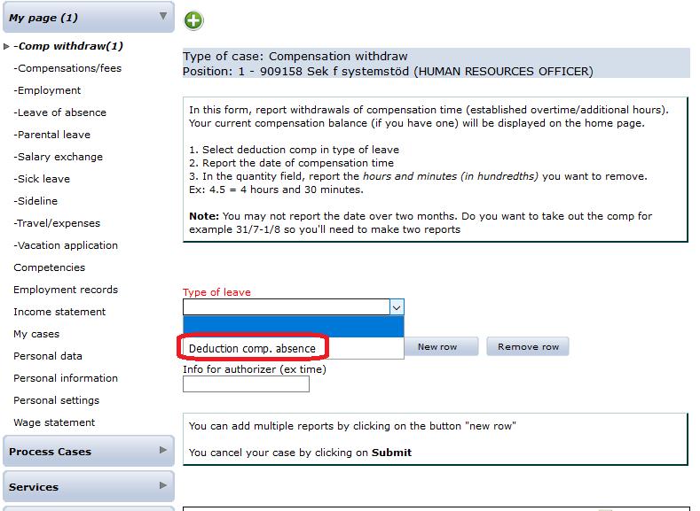 Primula om uttag av kompledighet – Staff Portal - University